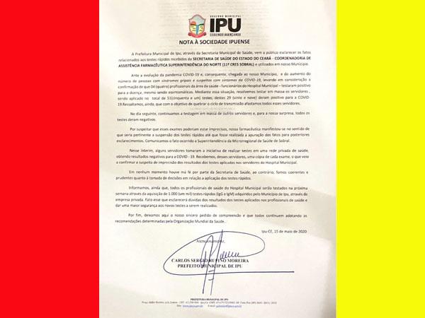 """Prefeitura de IPU faz teste de COVID-19 em servidores e da positivo, mais em rede privada da Negativo """"NOTA DA PREFEITURA"""""""
