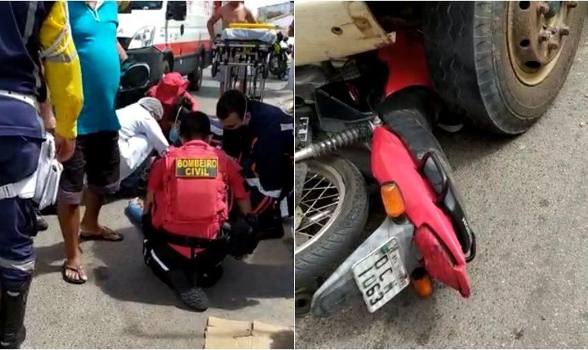 Em grave acidente, motociclista colide contra caçamba no centro de Santa Quitéria